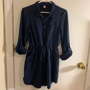 Button-Down Blue Dress w/ Pockets